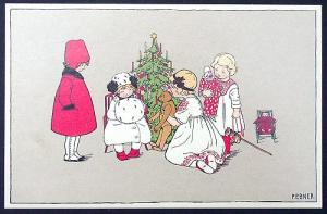 Postkarten sortiert mit Aufsteller Sortiment Weihnachten und Weihnachtsmann historisches Postkartenformat