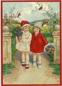 Glückwunschpostkarte beglittert 6Gg034