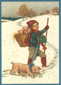 Postkarte Sortiment Weihnachten beglittert 6Wg028