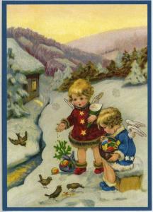Postkarte Sortiment Weihnachten beglittert 6Wg031