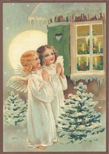 Postkarte Sortiment Weihnachten beglittert 6Wg021