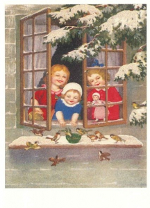 Postkarte Sortiment Weihnachten beglittert 6Wg033